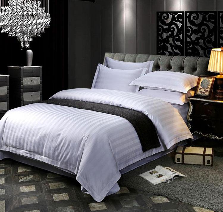 酒店客房用品床单被套枕套,加密加厚床笠款 1.5米四件套