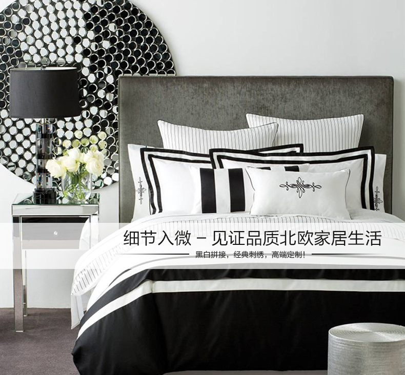 120支轻奢白色四件套,纯棉全棉美式酒店床上用品厂家单床笠支持定制1.8m床