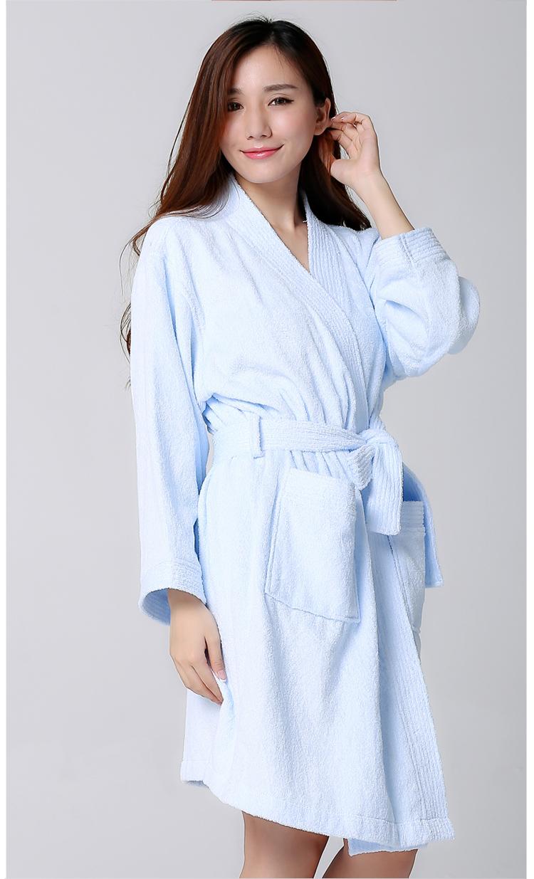 浴袍 素色交领纯棉浴袍 毛巾面料酒店浴衣女士睡袍 薄款夏季浴袍 粉色 女款 均码