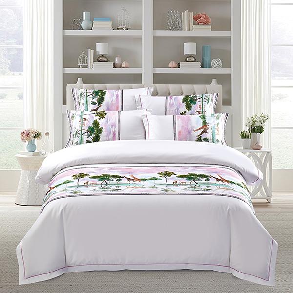 五星级酒店床上用品 四件套定做 60支全棉贡缎印花  北欧风情