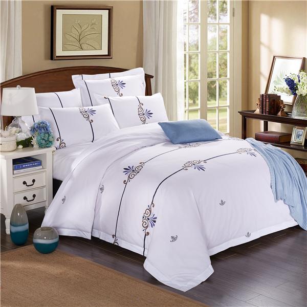五星级酒店床上用品四件套定做 60支全棉贡缎印花  月满西楼