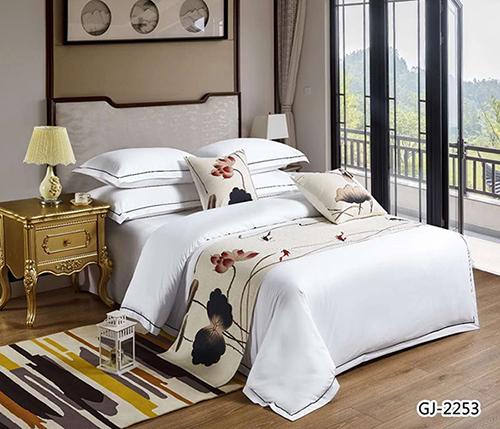 五星级酒店床上用品四件套批发 60支全棉贡缎印花  荷塘月色