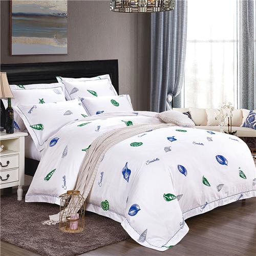 五星级酒店床上用品 四件套定做 60支全棉贡缎印花 海洋风情