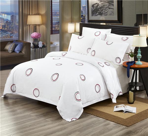 五星级酒店床上用品四件套定做 60支全棉贡缎印花 甜心圈