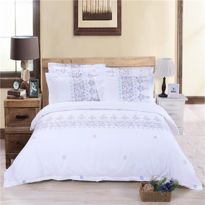 五星级酒店床上用品四件套定做 60支全棉贡缎印花 星语心愿