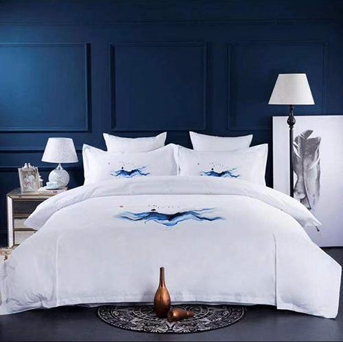 五星级酒店床上用品四件套批发 色织彩条 可织酒店LOGO