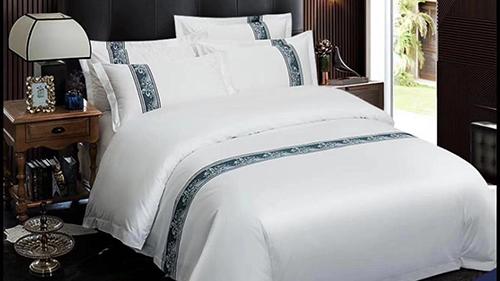 五星级酒店床上用品四件套批发 60支全棉贡缎印花  海韵