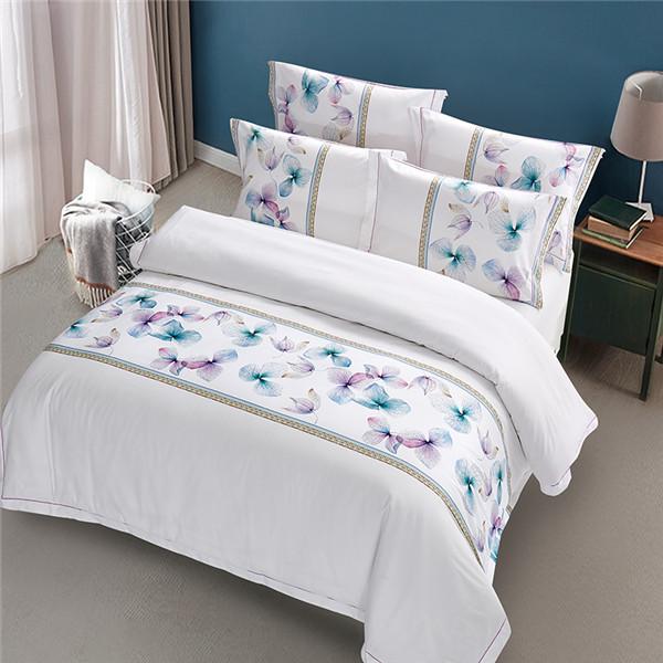 五星级酒店床上用品四件套定做 60支全棉贡缎印花 伊沙贝拉