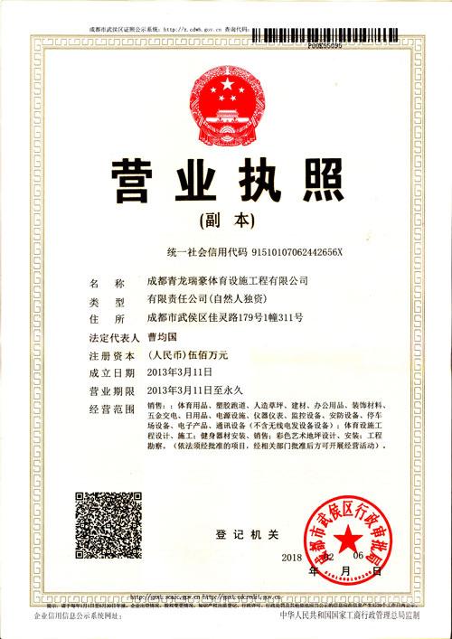 成都青龙瑞豪体育设施工程有限公司营业执照