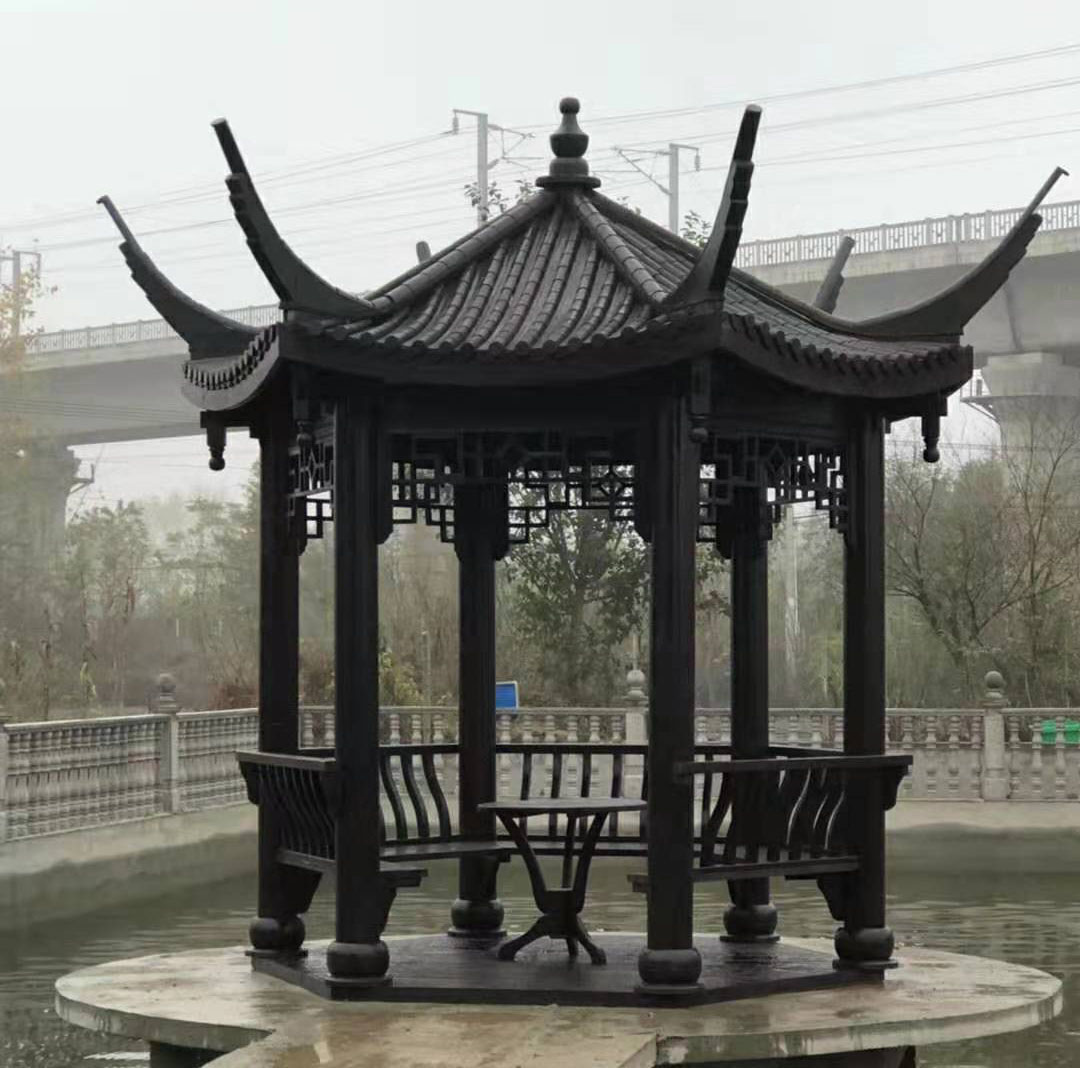 南阳某公园凉亭建造效果展示