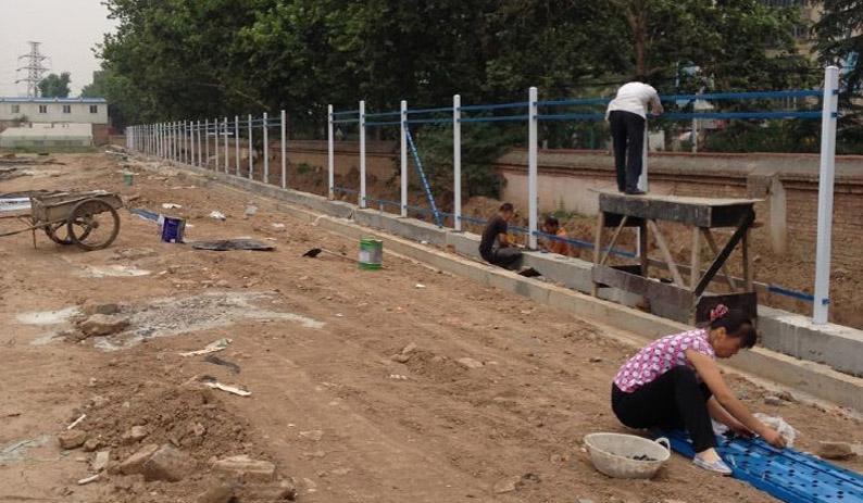 陕西栅栏围栏现场安装图