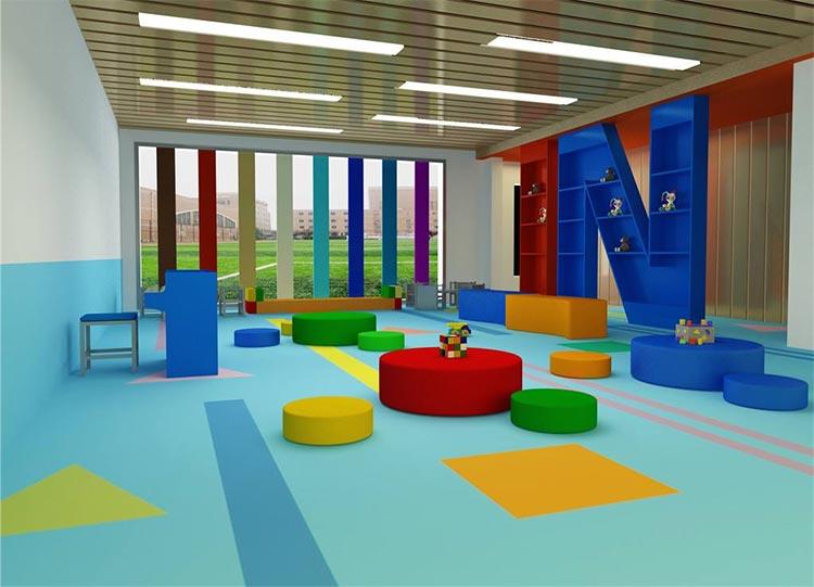 幼儿园教室塑胶地板铺设