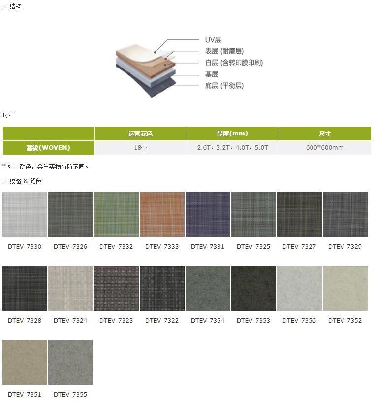 富銳(WOVEN)PVC塑膠地板結構尺寸
