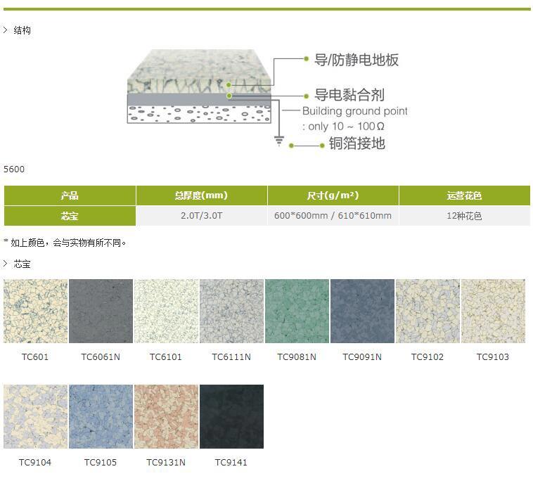 芯宝防静电片材地板结构尺寸