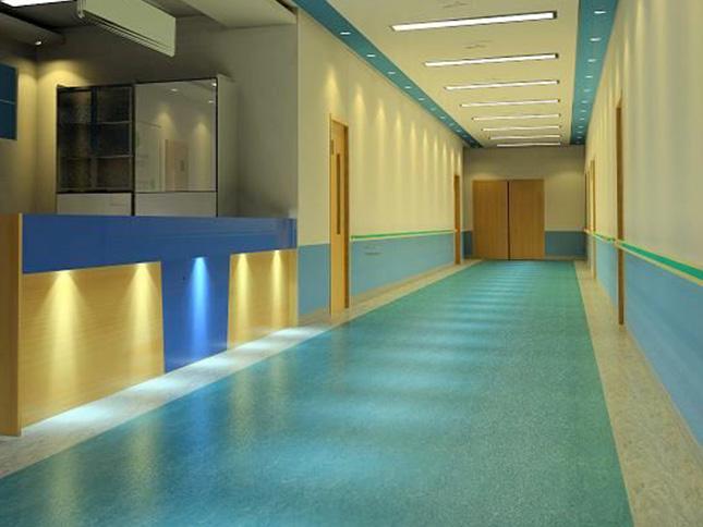 医院用塑胶地板3600平施工效果