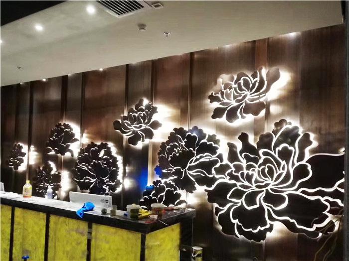 企业集团形象墙背发光设计制作安装