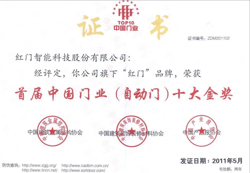 中国门业十大金奖