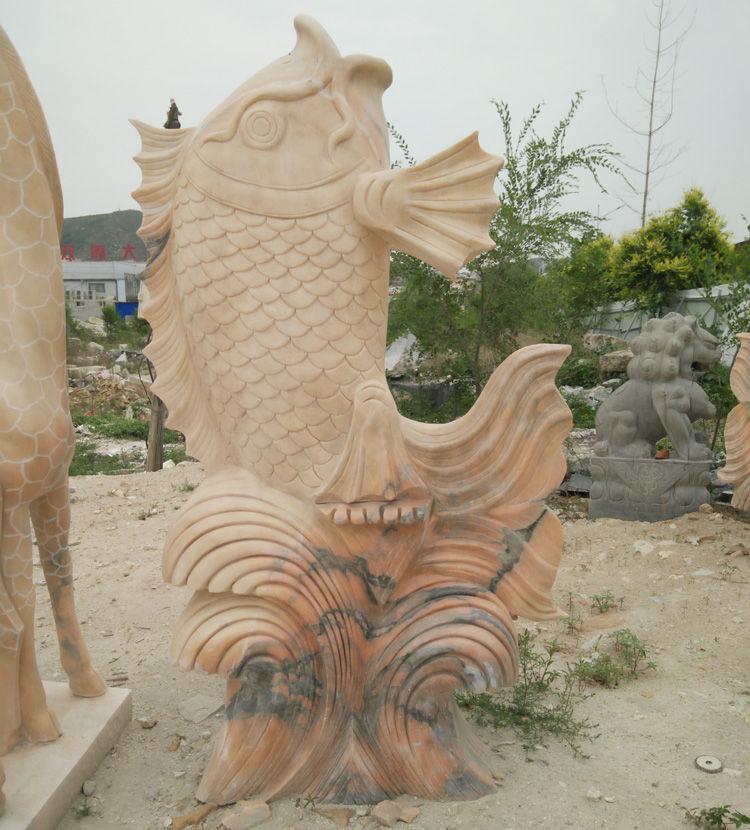 石雕喷水鱼雕塑