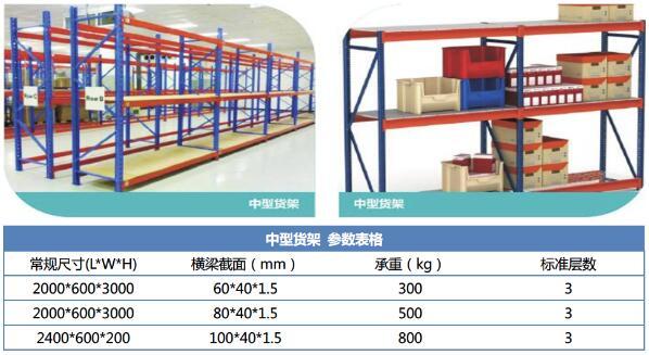 中型货架规格参数