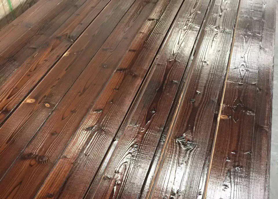 甘肃防腐木碳化免漆扣板_桑拿板