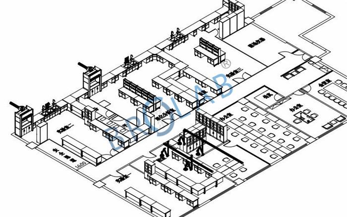 实验室设计整体效果俯视图