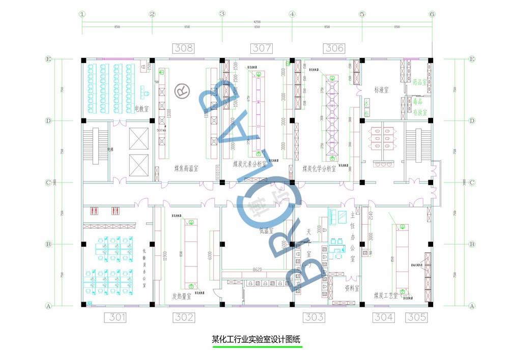 某化工行业实验室平面设计效果图