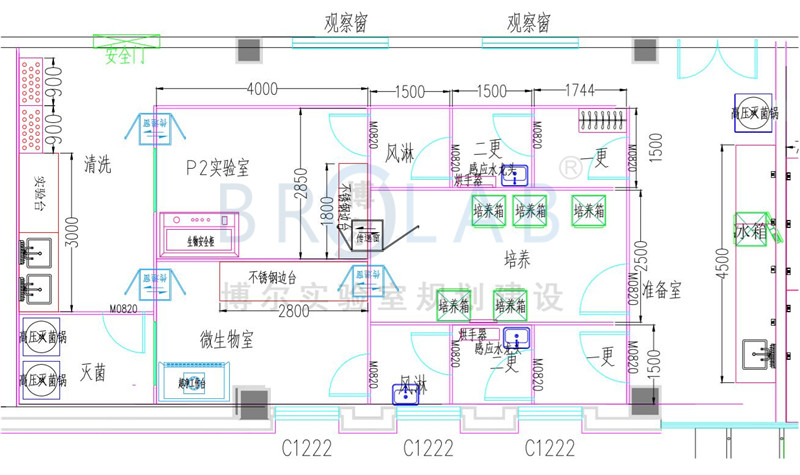 PCR实验室设计平面布局图