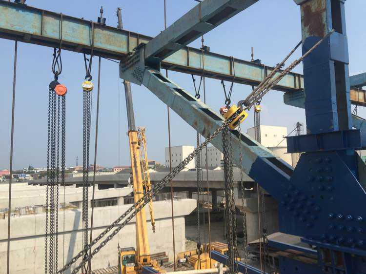 某工地建造时使用手拉葫芦保持产品平衡