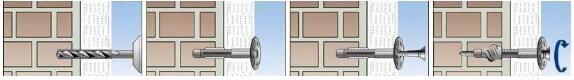 锚固点紧固后应低于岩棉板表面1~2mm