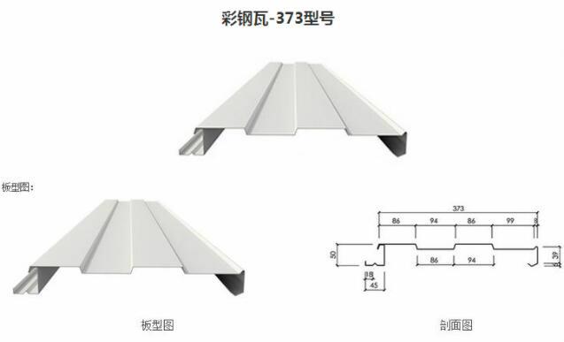 彩钢板压型系列彩钢瓦-373型号版型图和剖面图