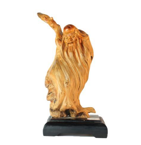 崖柏寿佛人物雕刻展示