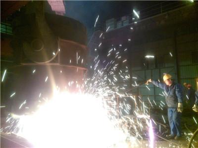 设备使用现场钢包钢液回炉中