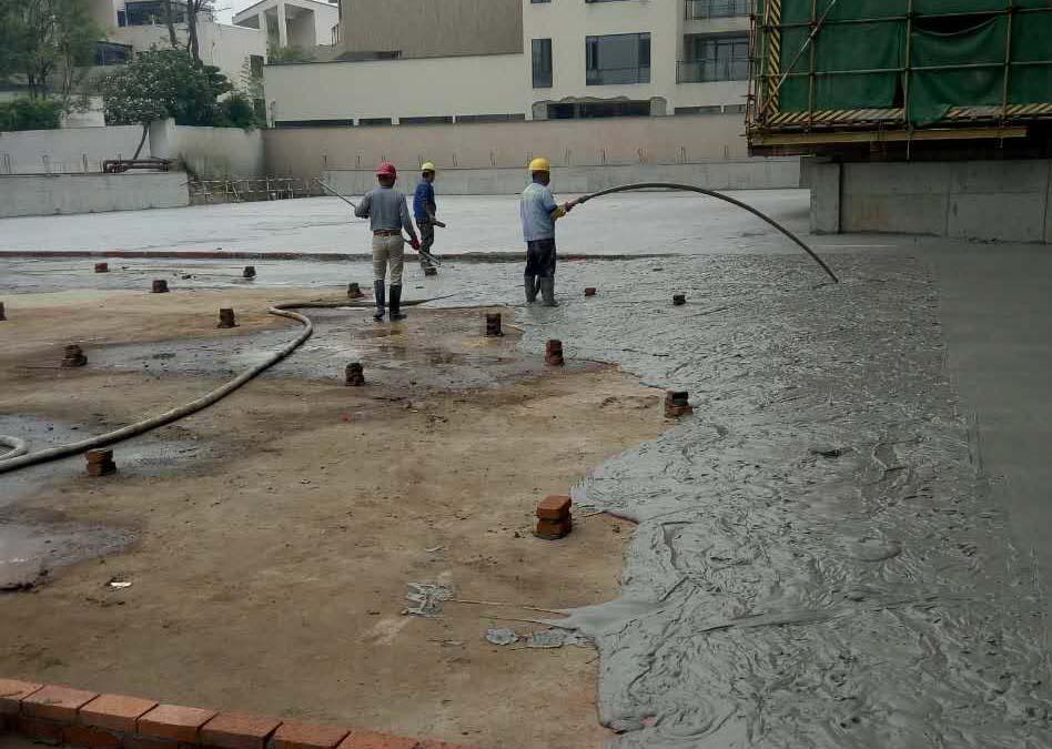 地下室顶板泡沫混凝土找坡找平保温一体化浇筑