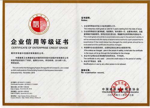 卫生洁具隧道窑生产企业信用等级证书