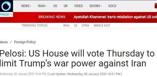 佩洛西出手:周四众议院投票 限制特朗普对伊朗动武
