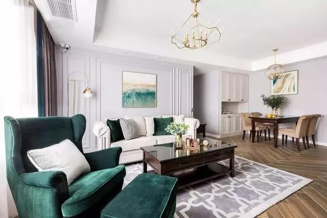 玖度裝飾 全屋定制   高雅美式三居裝修案例,色彩的點綴正好!