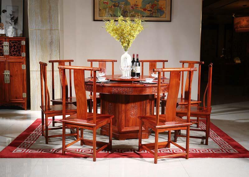 西安缅甸花梨木家具圆餐桌餐台