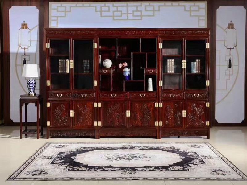 酸枝木办公家具三组合书柜