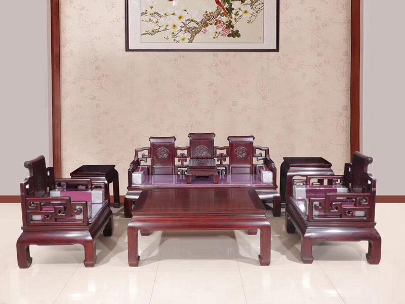 西安非洲红酸枝客厅卷书沙发七件套价格优惠