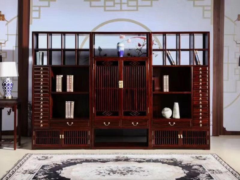 非洲酸枝新中式办公书柜三组合