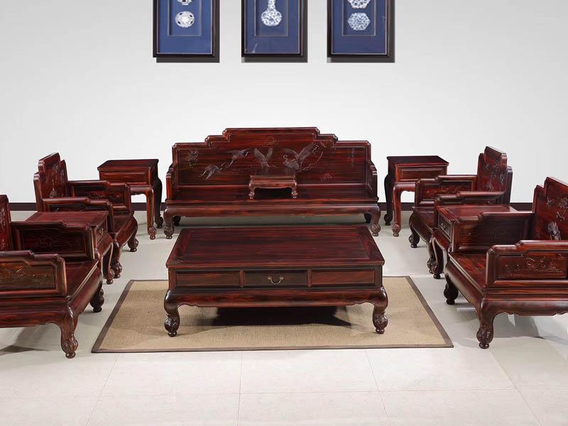 陕西非洲酸枝木红木家具丝翎檀雕客厅沙发