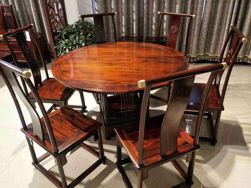 西安非洲酸枝木新中式圆餐桌