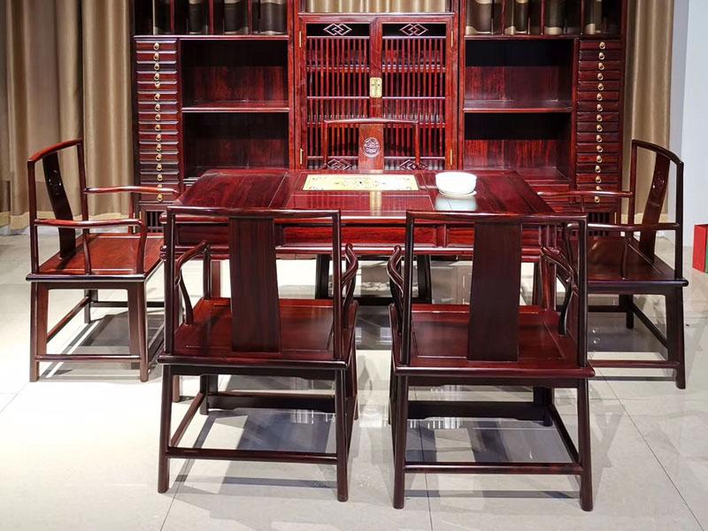 新中式简约办公茶桌非洲酸枝木家具