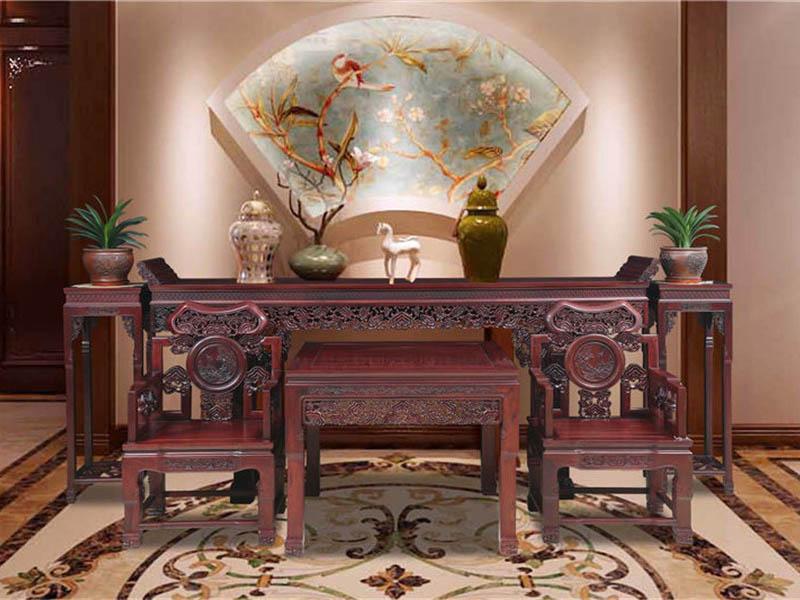 红酸枝红木家具中堂六件套灵芝椅