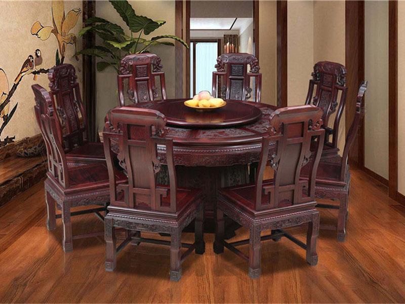 西安老挝红酸枝吉祥如意圆餐桌