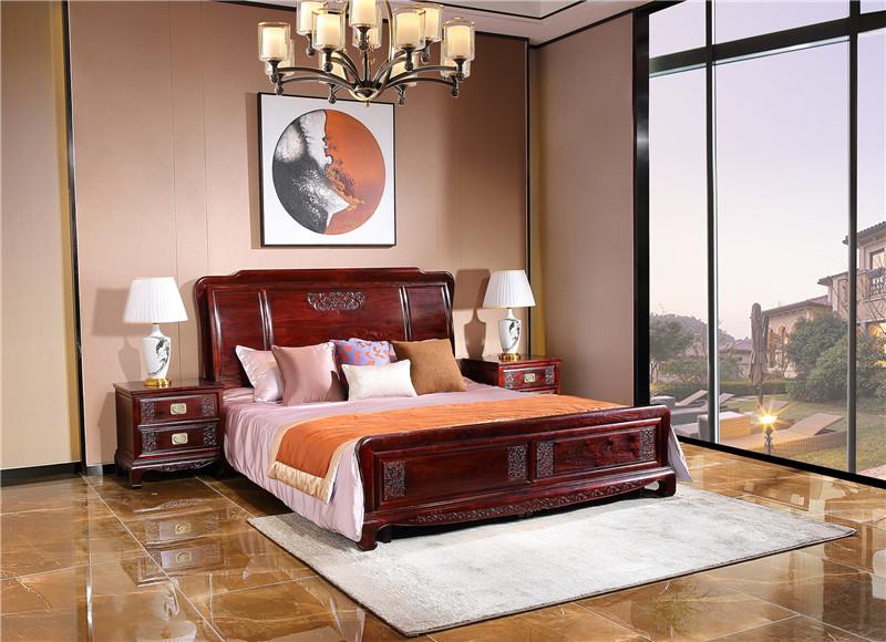 陕西染料紫檀红木家具床