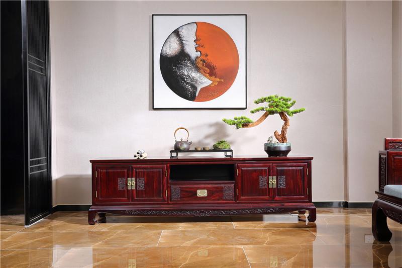 染料紫檀赞比亚血檀客厅电视柜