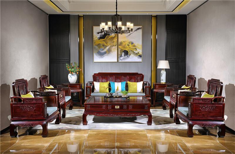赞比亚血檀十件套沙发