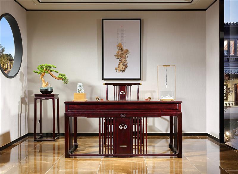 红木老板办公桌图片血檀家具新中式风格