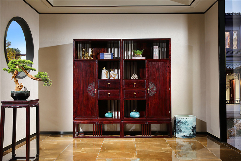新中式红木办公桌书柜图片西安木灵生